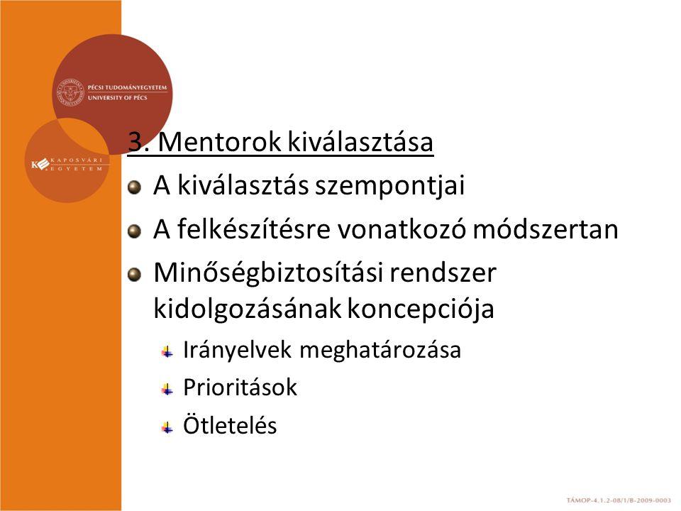 3. Mentorok kiválasztása A kiválasztás szempontjai A felkészítésre vonatkozó módszertan Minőségbiztosítási rendszer kidolgozásának koncepciója Irányel