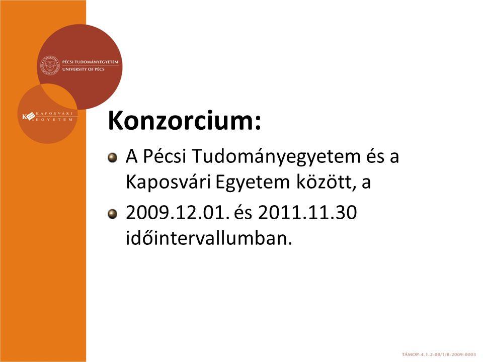 Konzorcium: A Pécsi Tudományegyetem és a Kaposvári Egyetem között, a 2009.12.01. és 2011.11.30 időintervallumban.