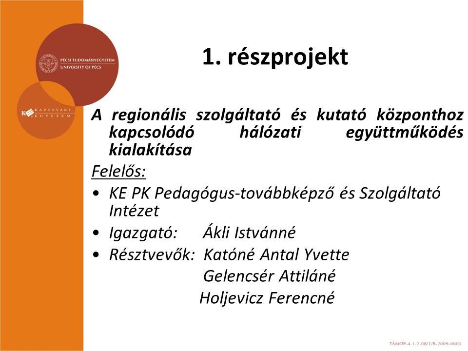 1. részprojekt A regionális szolgáltató és kutató központhoz kapcsolódó hálózati együttműködés kialakítása Felelős: KE PK Pedagógus-továbbképző és Szo