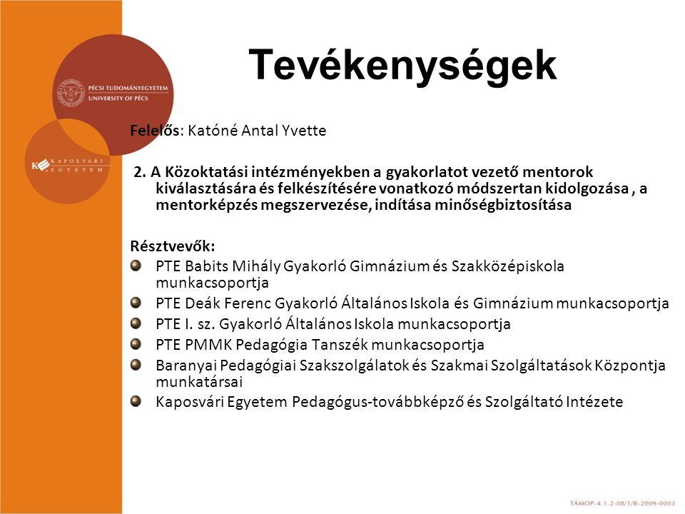 Felelős: Katóné Antal Yvette 2. A Közoktatási intézményekben a gyakorlatot vezető mentorok kiválasztására és felkészítésére vonatkozó módszertan kidol