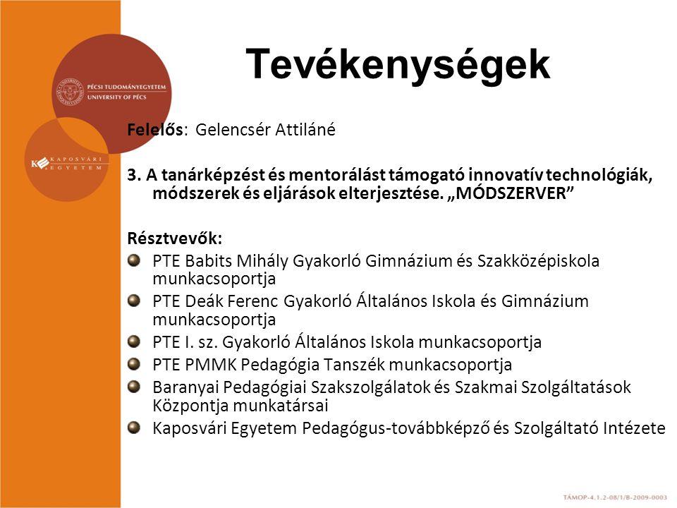 """Felelős: Gelencsér Attiláné 3. A tanárképzést és mentorálást támogató innovatív technológiák, módszerek és eljárások elterjesztése. """"MÓDSZERVER"""" Részt"""