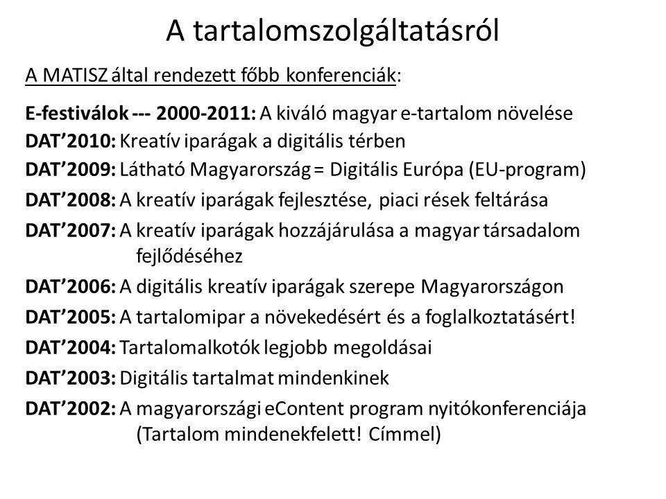 A tartalomszolgáltatásról A MATISZ által rendezett főbb konferenciák: E-festiválok --- 2000-2011: A kiváló magyar e-tartalom növelése DAT'2010: Kreatív iparágak a digitális térben DAT'2009: Látható Magyarország = Digitális Európa (EU-program) DAT'2008: A kreatív iparágak fejlesztése, piaci rések feltárása DAT'2007: A kreatív iparágak hozzájárulása a magyar társadalom fejlődéséhez DAT'2006: A digitális kreatív iparágak szerepe Magyarországon DAT'2005: A tartalomipar a növekedésért és a foglalkoztatásért.
