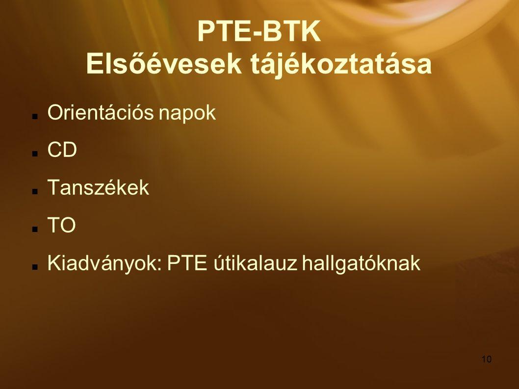 10 PTE-BTK Elsőévesek tájékoztatása Orientációs napok CD Tanszékek TO Kiadványok: PTE útikalauz hallgatóknak
