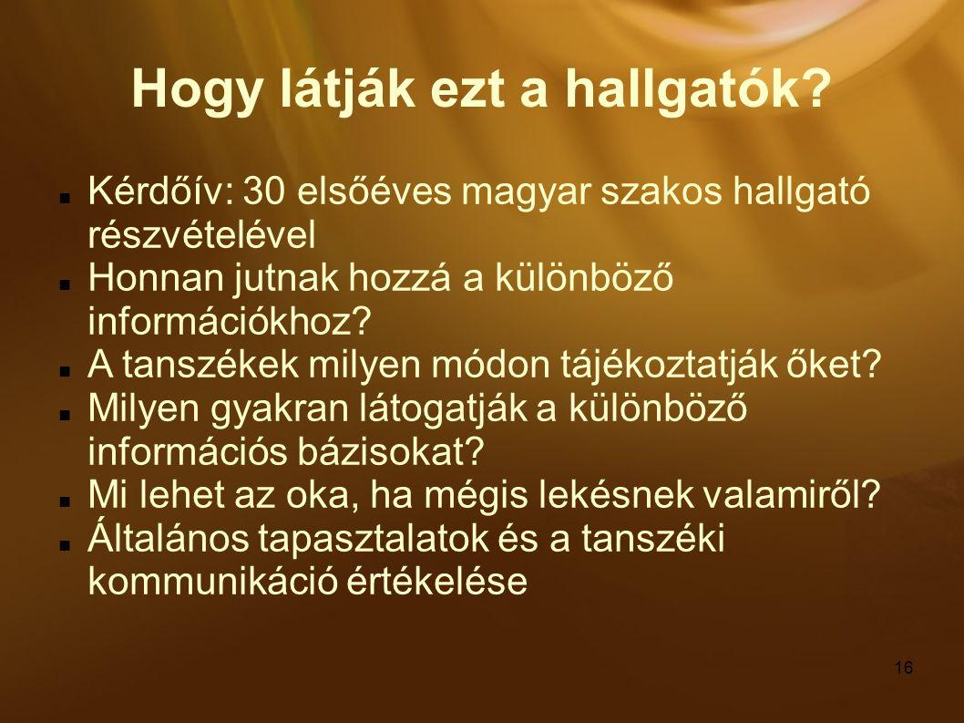 16 Hogy látják ezt a hallgatók? Kérdőív: 30 elsőéves magyar szakos hallgató részvételével Honnan jutnak hozzá a különböző információkhoz? A tanszékek
