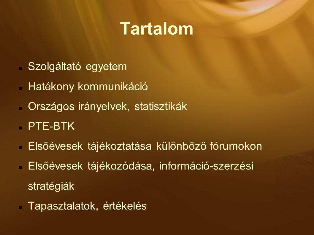 Tartalom Szolgáltató egyetem Hatékony kommunikáció Országos irányelvek, statisztikák PTE-BTK Elsőévesek tájékoztatása különbőző fórumokon Elsőévesek tájékozódása, információ-szerzési stratégiák Tapasztalatok, értékelés