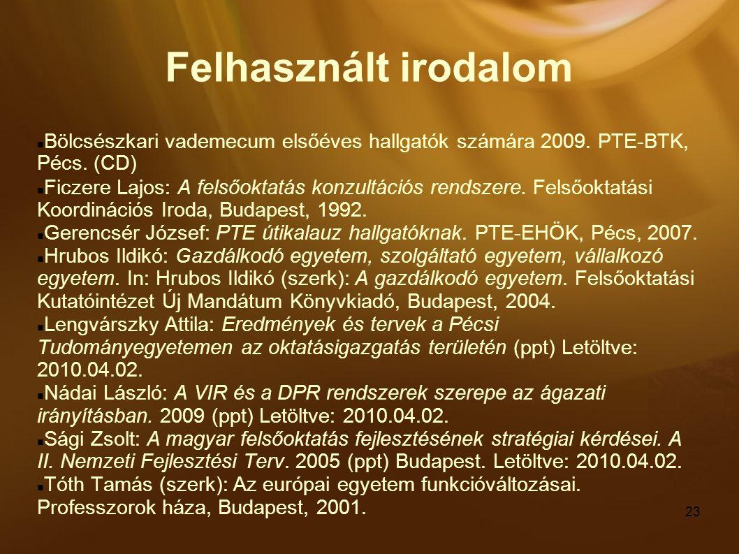 23 Felhasznált irodalom Bölcsészkari vademecum elsőéves hallgatók számára 2009. PTE-BTK, Pécs. (CD) Ficzere Lajos: A felsőoktatás konzultációs rendsz