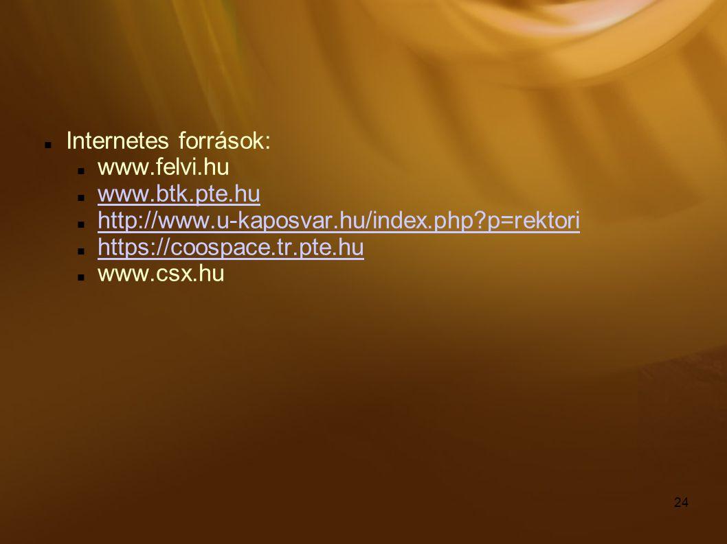 24 Internetes források: www.felvi.hu www.btk.pte.hu http://www.u-kaposvar.hu/index.php?p=rektori https://coospace.tr.pte.hu www.csx.hu