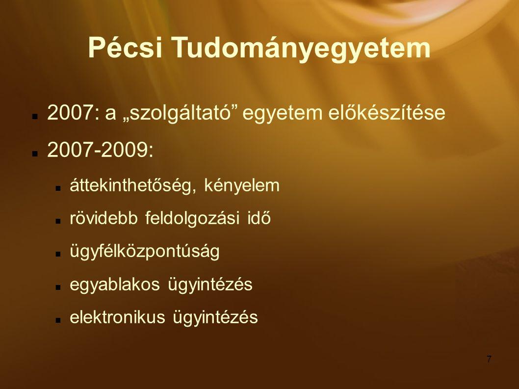 """7 Pécsi Tudományegyetem 2007: a """"szolgáltató egyetem előkészítése 2007-2009: áttekinthetőség, kényelem rövidebb feldolgozási idő ügyfélközpontúság egyablakos ügyintézés elektronikus ügyintézés"""