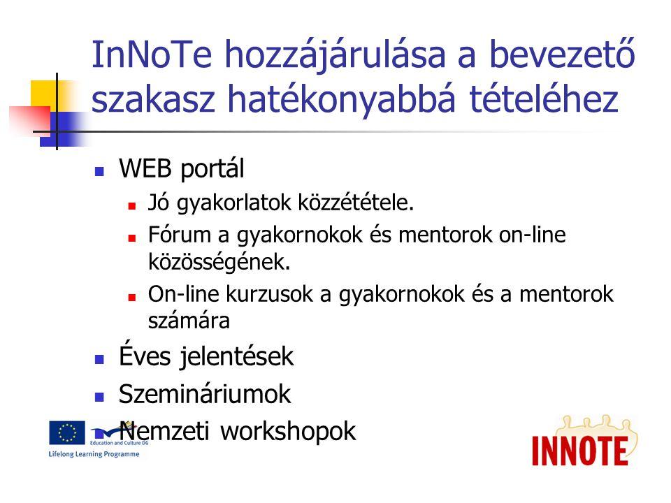 InNoTe hozzájárulása a bevezető szakasz hatékonyabbá tételéhez WEB portál Jó gyakorlatok közzététele.