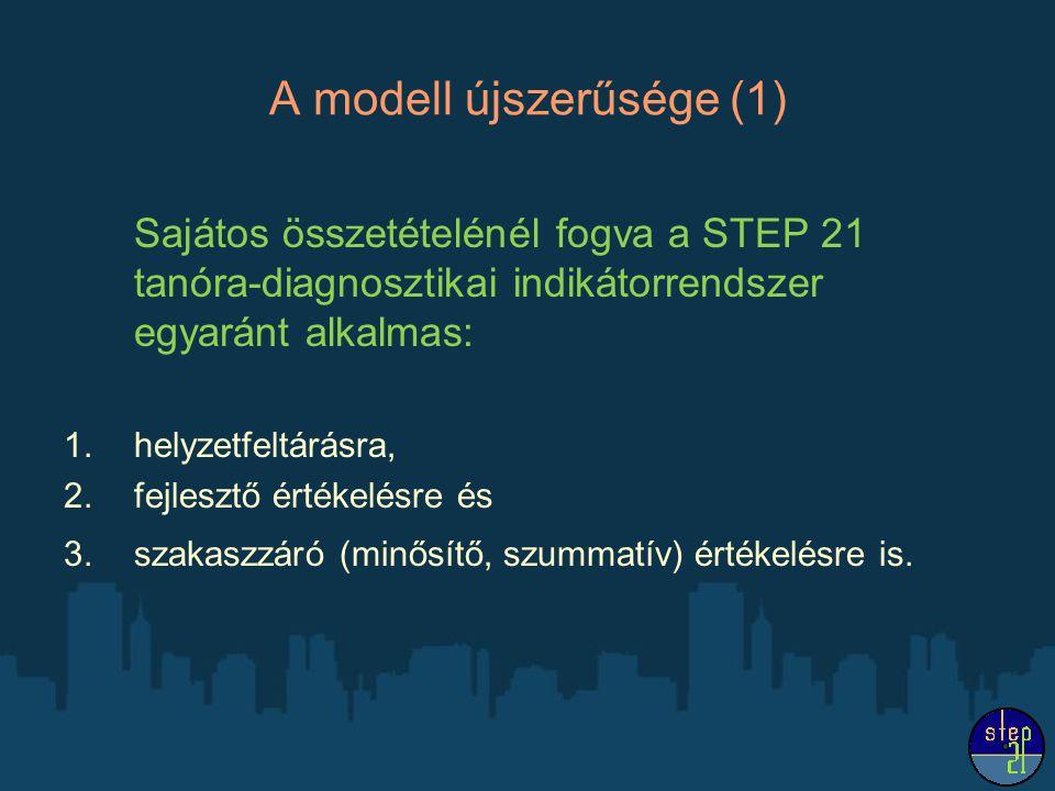 A modell újszerűsége (1) Sajátos összetételénél fogva a STEP 21 tanóra-diagnosztikai indikátorrendszer egyaránt alkalmas: 1.helyzetfeltárásra, 2.fejlesztő értékelésre és 3.szakaszzáró (minősítő, szummatív) értékelésre is.
