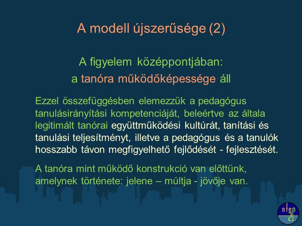 A modell újszerűsége (2) A figyelem középpontjában: a tanóra működőképessége áll Ezzel összefüggésben elemezzük a pedagógus tanulásirányítási kompetenciáját, beleértve az általa legitimált tanórai együttműködési kultúrát, tanítási és tanulási teljesítményt, illetve a pedagógus és a tanulók hosszabb távon megfigyelhető fejlődését - fejlesztését.