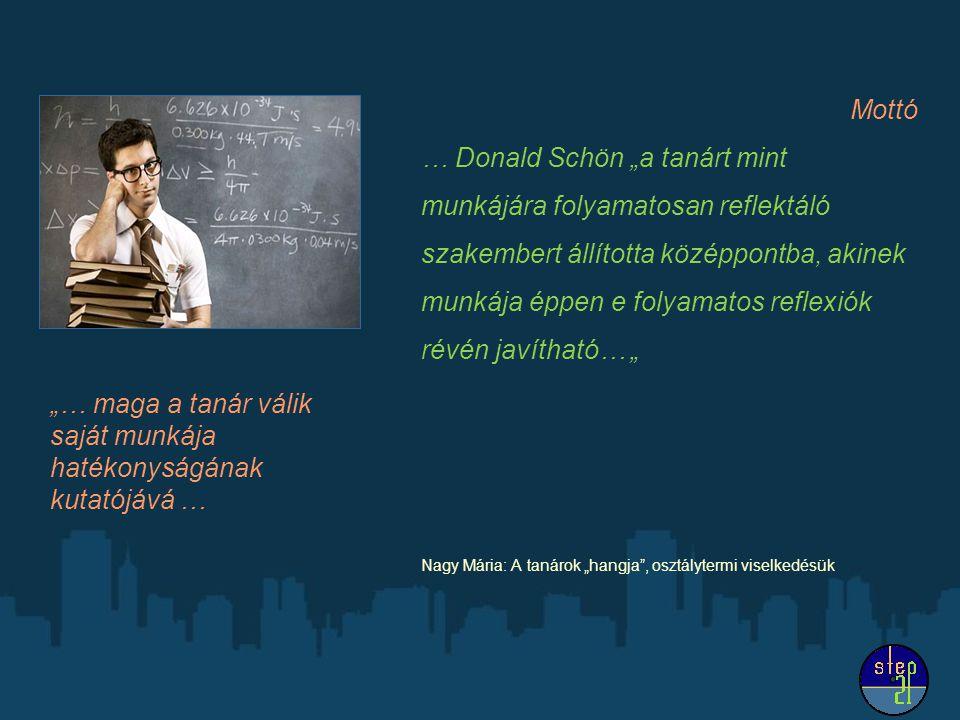 """Mottó … Donald Schön """"a tanárt mint munkájára folyamatosan reflektáló szakembert állította középpontba, akinek munkája éppen e folyamatos reflexiók ré"""