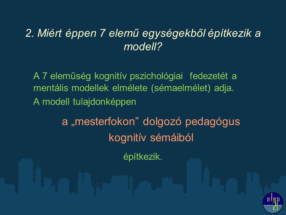 2. Miért éppen 7 elemű egységekből építkezik a modell? A 7 eleműség kognitív pszichológiai fedezetét a mentális modellek elmélete (sémaelmélet) adja.