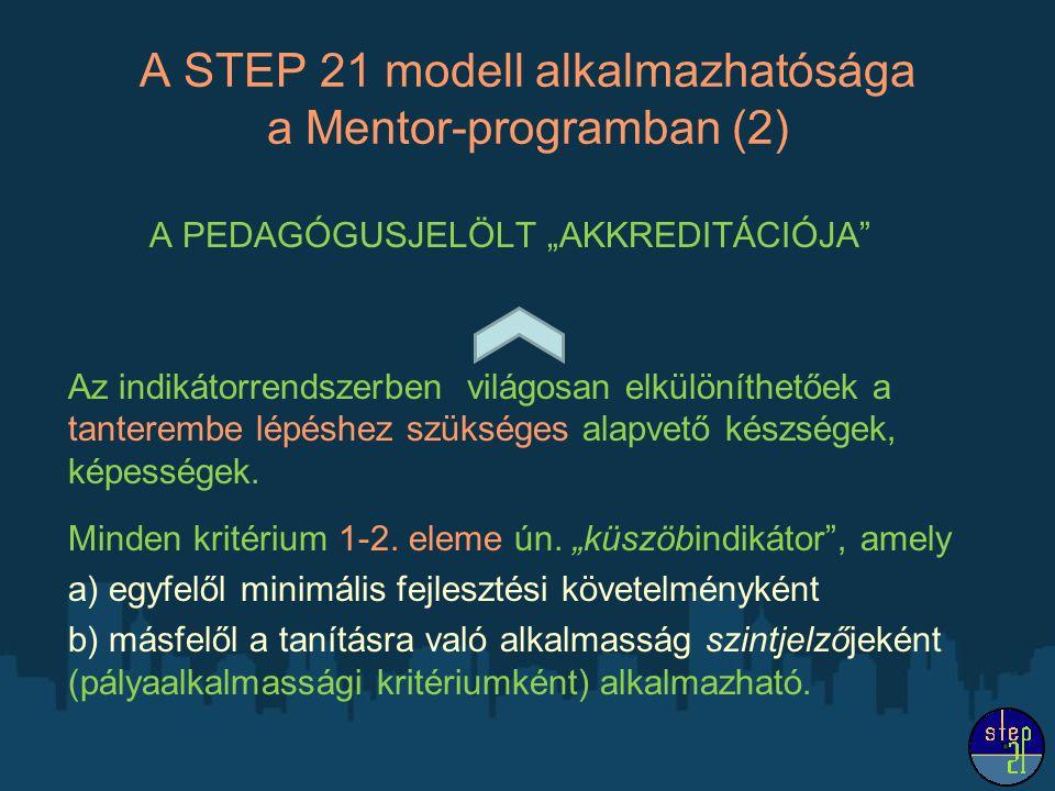 """A STEP 21 modell alkalmazhatósága a Mentor-programban (2) A PEDAGÓGUSJELÖLT """"AKKREDITÁCIÓJA"""" Az indikátorrendszerben világosan elkülöníthetőek a tante"""