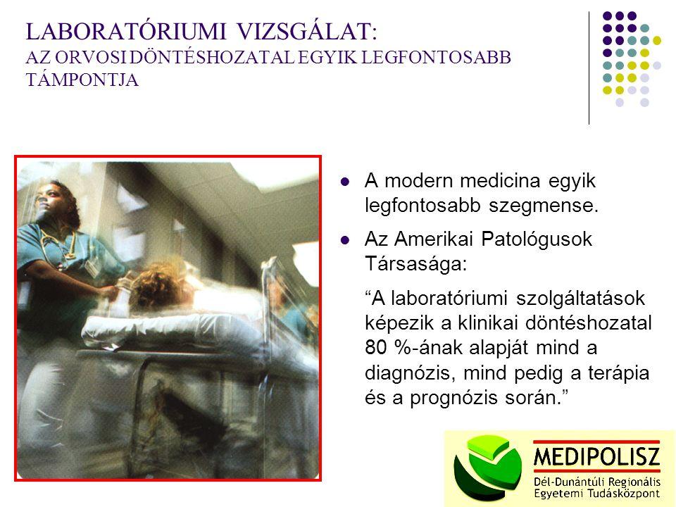 LABORATÓRIUMI VIZSGÁLAT: AZ ORVOSI DÖNTÉSHOZATAL EGYIK LEGFONTOSABB TÁMPONTJA A modern medicina egyik legfontosabb szegmense.