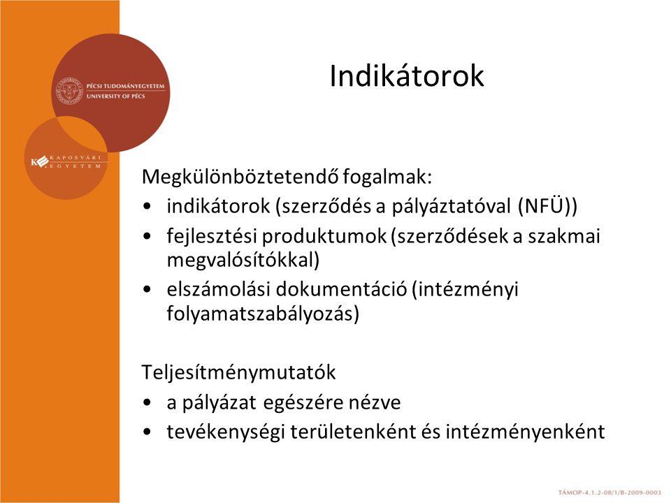 Indikátorok Megkülönböztetendő fogalmak: indikátorok (szerződés a pályáztatóval (NFÜ)) fejlesztési produktumok (szerződések a szakmai megvalósítókkal) elszámolási dokumentáció (intézményi folyamatszabályozás) Teljesítménymutatók a pályázat egészére nézve tevékenységi területenként és intézményenként