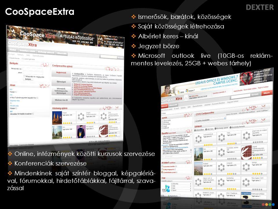 CooSpaceExtra  Ismerősök, barátok, közösségek  Saját közösségek létrehozása  Albérlet keres – kínál  Jegyzet börze  Microsoft outlook live (10GB-
