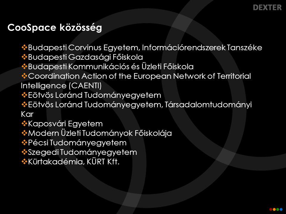 CooSpace közösség  Budapesti Corvinus Egyetem, Információrendszerek Tanszéke  Budapesti Gazdasági Főiskola  Budapesti Kommunikációs és Üzleti Főisk
