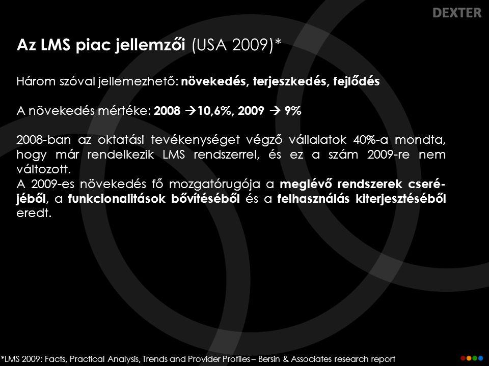 Az LMS piac jellemzői (USA 2009)* Három szóval jellemezhető: növekedés, terjeszkedés, fejlődés A növekedés mértéke: 2008  10,6%, 2009  9% 2008-ban a