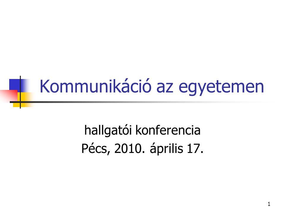 1 Kommunikáció az egyetemen hallgatói konferencia Pécs, 2010. április 17.