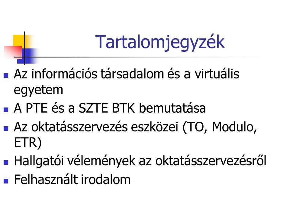 Tartalomjegyzék Az információs társadalom és a virtuális egyetem A PTE és a SZTE BTK bemutatása Az oktatásszervezés eszközei (TO, Modulo, ETR) Hallgatói vélemények az oktatásszervezésről Felhasznált irodalom