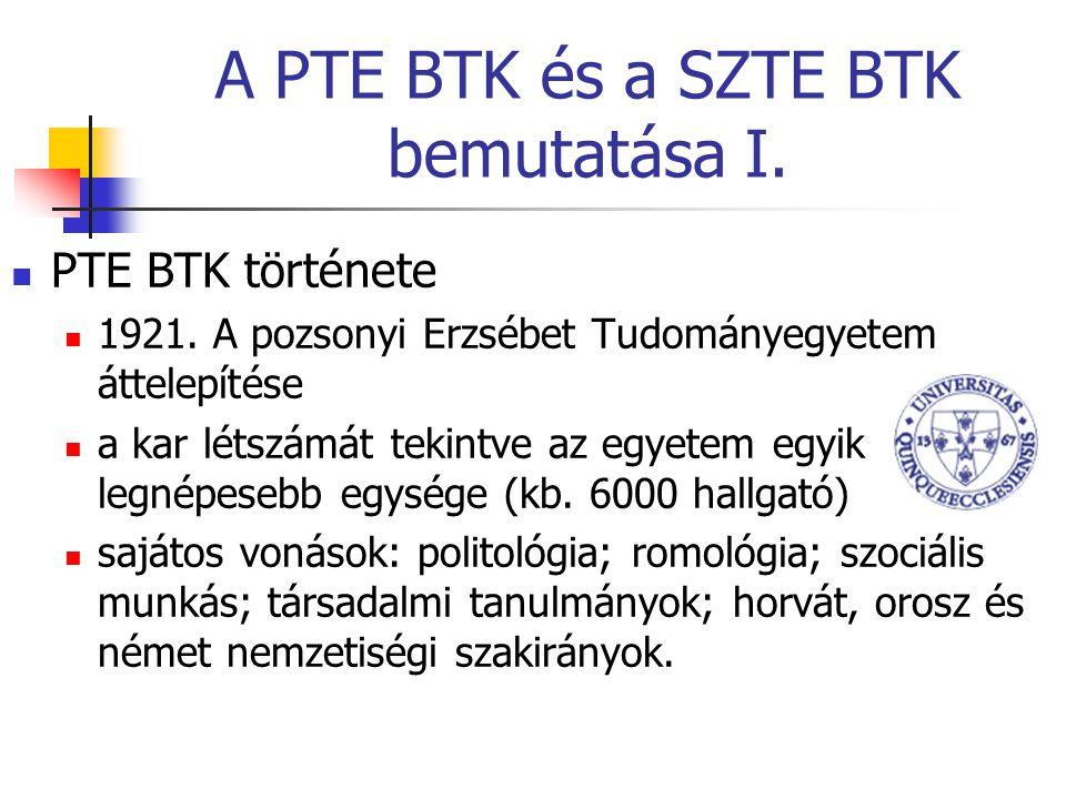 A PTE BTK és a SZTE BTK bemutatása I. PTE BTK története 1921.