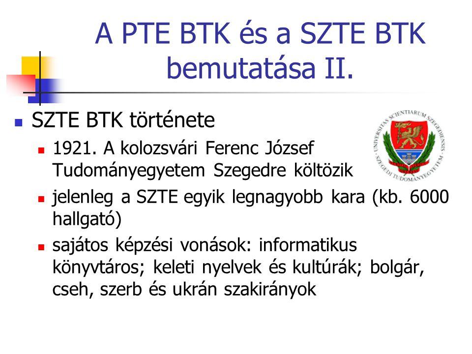 A PTE BTK és a SZTE BTK bemutatása II. SZTE BTK története 1921.