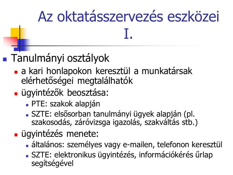 Az oktatásszervezés eszközei II.