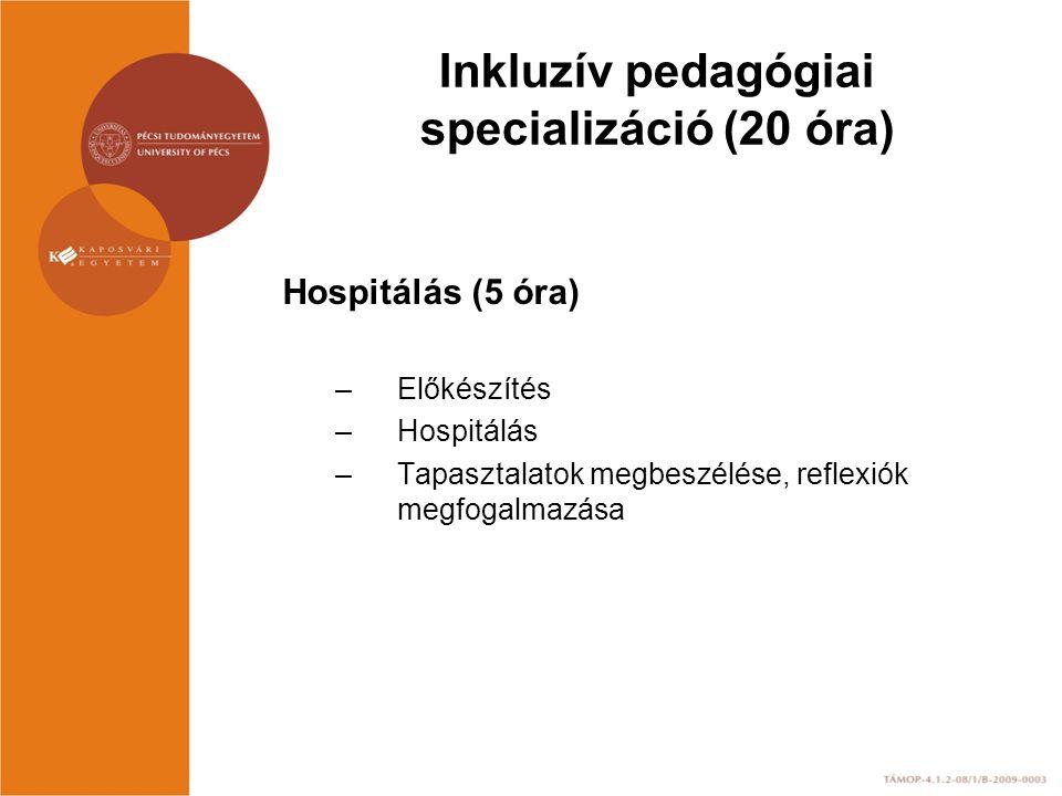 Inkluzív pedagógiai specializáció (20 óra) Hospitálás (5 óra) –Előkészítés –Hospitálás –Tapasztalatok megbeszélése, reflexiók megfogalmazása