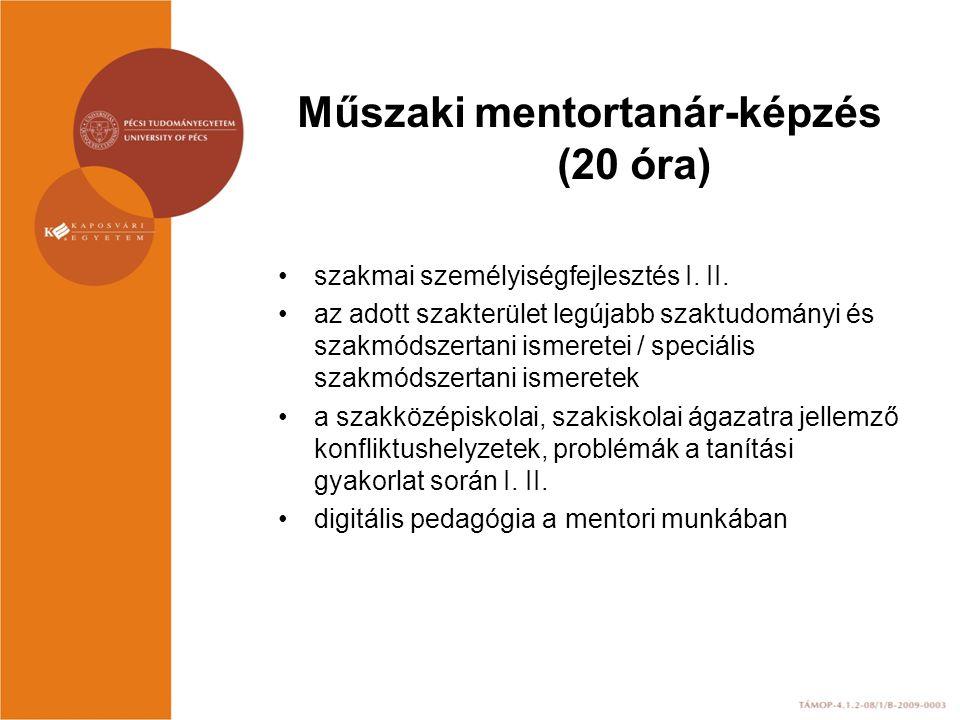 Műszaki mentortanár-képzés (20 óra) szakmai személyiségfejlesztés I. II. az adott szakterület legújabb szaktudományi és szakmódszertani ismeretei / sp