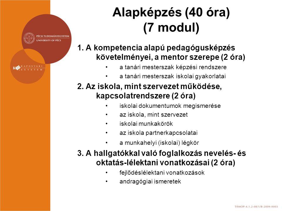 Alapképzés (40 óra) (7 modul) 1. A kompetencia alapú pedagógusképzés követelményei, a mentor szerepe (2 óra) a tanári mesterszak képzési rendszere a t