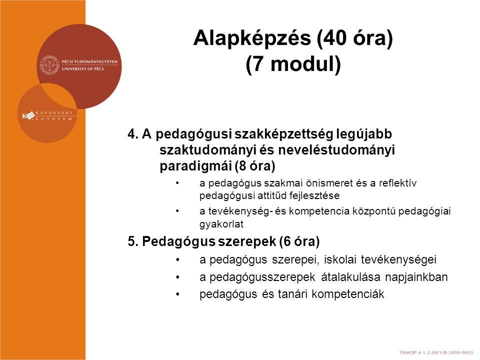 Alapképzés (40 óra) (7 modul) 4. A pedagógusi szakképzettség legújabb szaktudományi és neveléstudományi paradigmái (8 óra) a pedagógus szakmai önismer