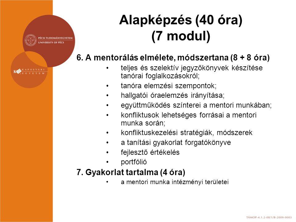 Alapképzés (40 óra) (7 modul) 6. A mentorálás elmélete, módszertana (8 + 8 óra) teljes és szelektív jegyzőkönyvek készítése tanórai foglalkozásokról;