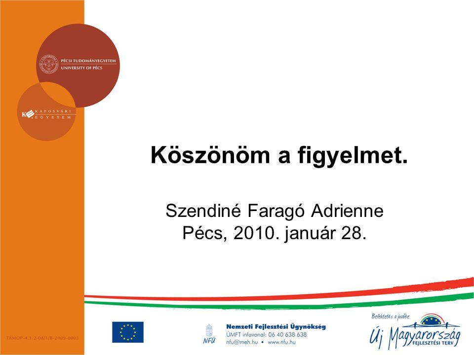 Köszönöm a figyelmet. Szendiné Faragó Adrienne Pécs, 2010. január 28.