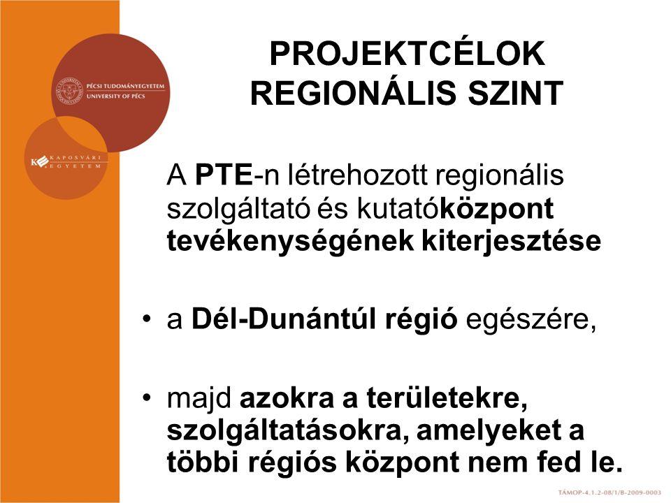 PROJEKTCÉLOK REGIONÁLIS SZINT A PTE-n létrehozott regionális szolgáltató és kutatóközpont tevékenységének kiterjesztése a Dél-Dunántúl régió egészére, majd azokra a területekre, szolgáltatásokra, amelyeket a többi régiós központ nem fed le.