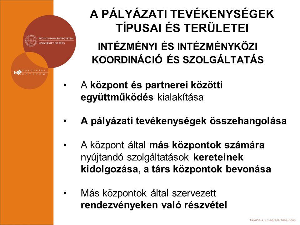 A PÁLYÁZATI TEVÉKENYSÉGEK TÍPUSAI ÉS TERÜLETEI INTÉZMÉNYI ÉS INTÉZMÉNYKÖZI KOORDINÁCIÓ ÉS SZOLGÁLTATÁS A központ és partnerei közötti együttműködés ki