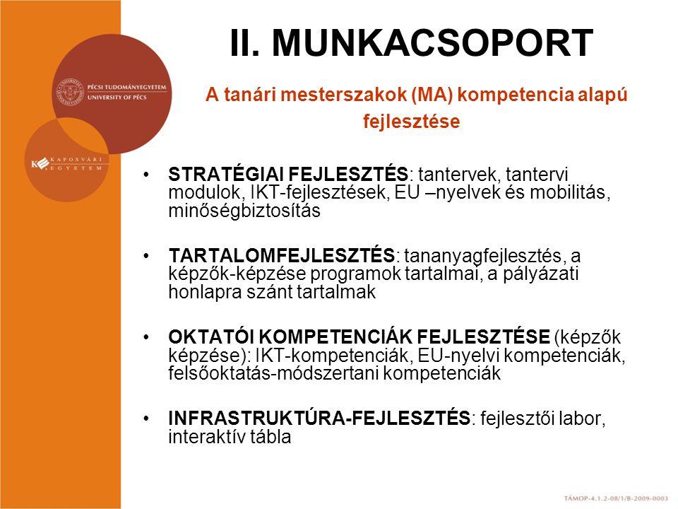 II. MUNKACSOPORT A tanári mesterszakok (MA) kompetencia alapú fejlesztése STRATÉGIAI FEJLESZTÉS: tantervek, tantervi modulok, IKT-fejlesztések, EU –ny
