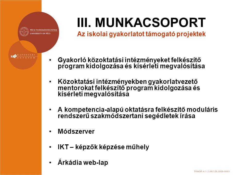 III. MUNKACSOPORT Az iskolai gyakorlatot támogató projektek Gyakorló közoktatási intézményeket felkészítő program kidolgozása és kísérleti megvalósítá
