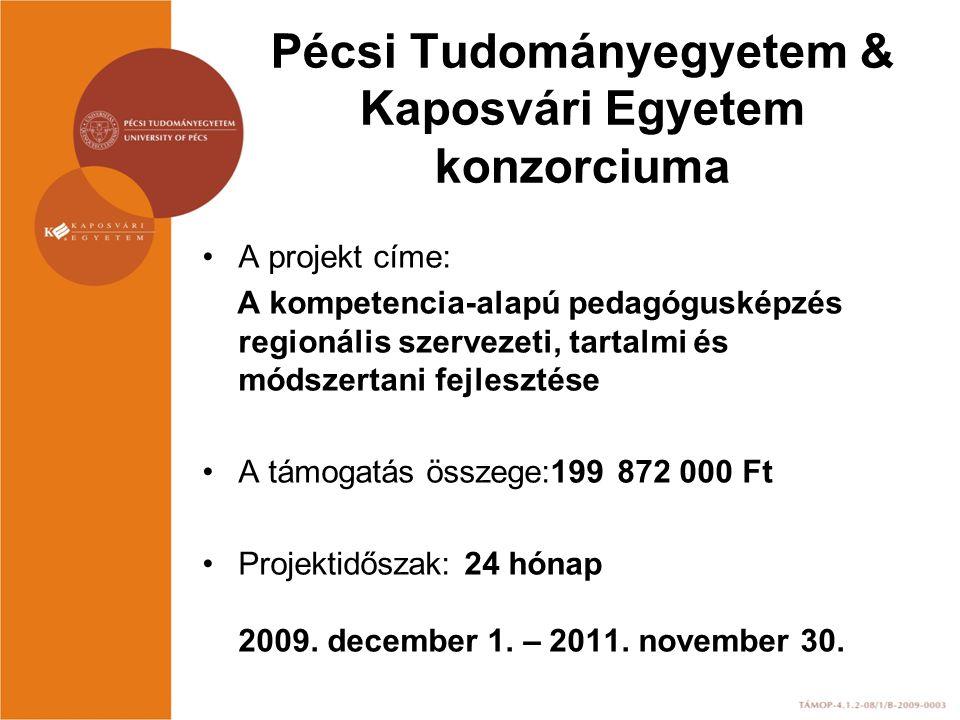 Pécsi Tudományegyetem & Kaposvári Egyetem konzorciuma A projekt címe: A kompetencia-alapú pedagógusképzés regionális szervezeti, tartalmi és módszerta
