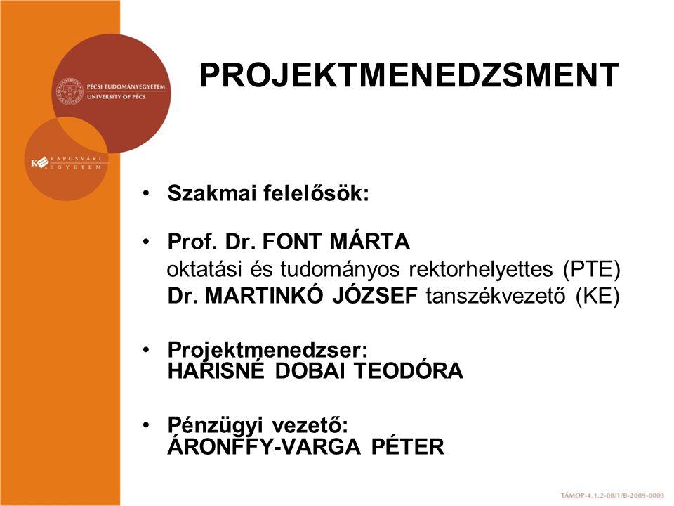 PROJEKTMENEDZSMENT Szakmai felelősök: Prof. Dr.
