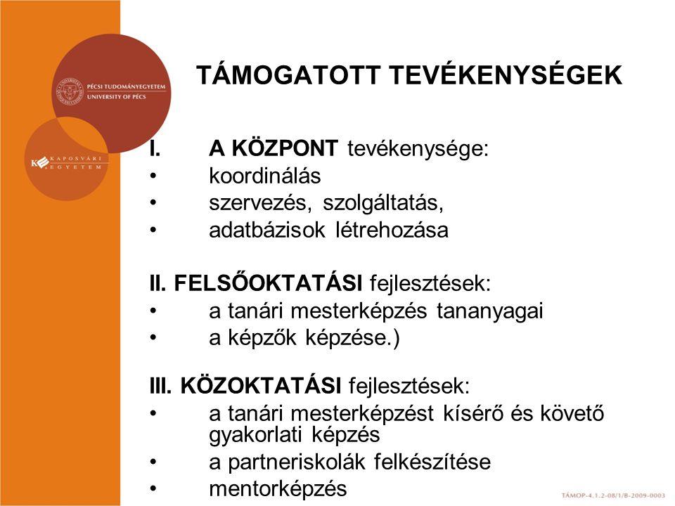 TÁMOGATOTT TEVÉKENYSÉGEK I.A KÖZPONT tevékenysége: koordinálás szervezés, szolgáltatás, adatbázisok létrehozása II. FELSŐOKTATÁSI fejlesztések: a taná