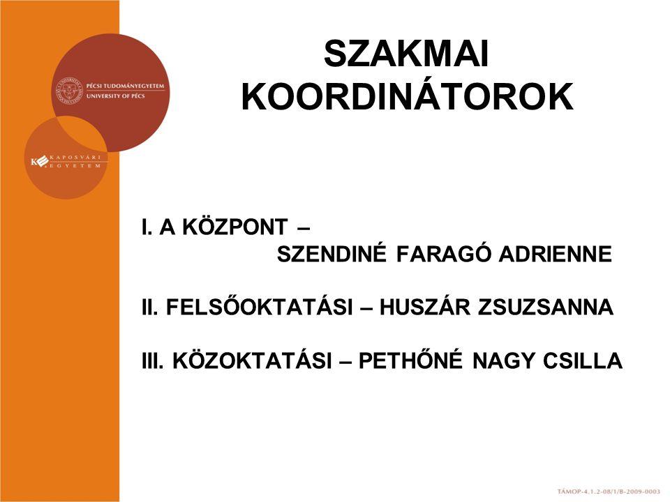 SZAKMAI KOORDINÁTOROK I. A KÖZPONT – SZENDINÉ FARAGÓ ADRIENNE II.