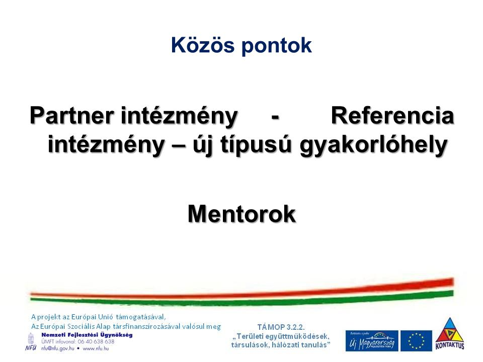 Közös pontok Partner intézmény- Referencia intézmény – új típusú gyakorlóhely Mentorok