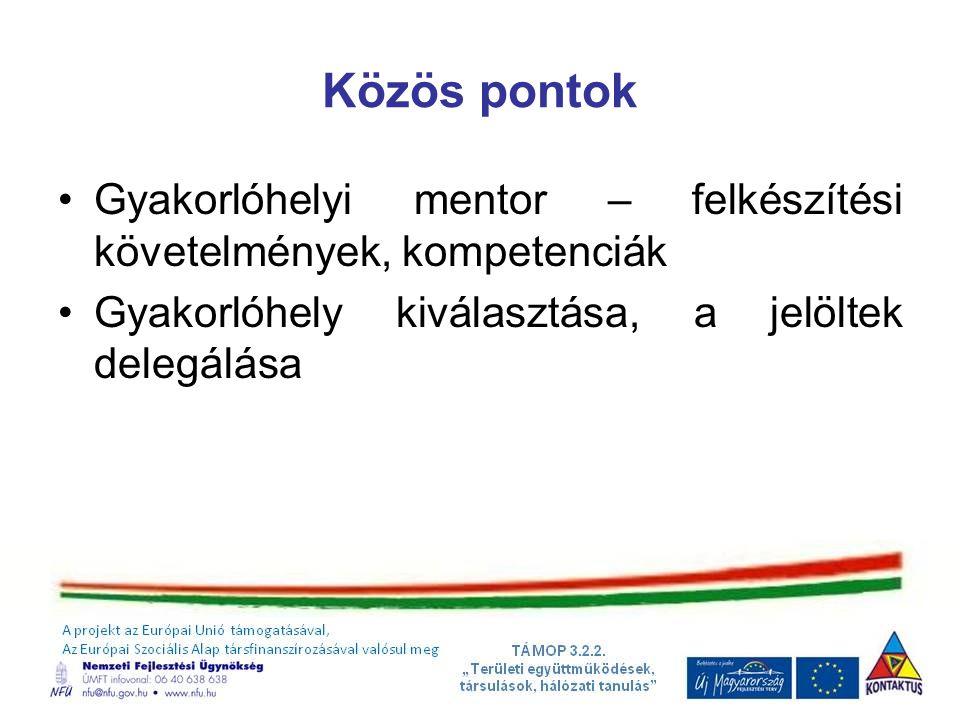 Közös pontok Gyakorlóhelyi mentor – felkészítési követelmények, kompetenciák Gyakorlóhely kiválasztása, a jelöltek delegálása