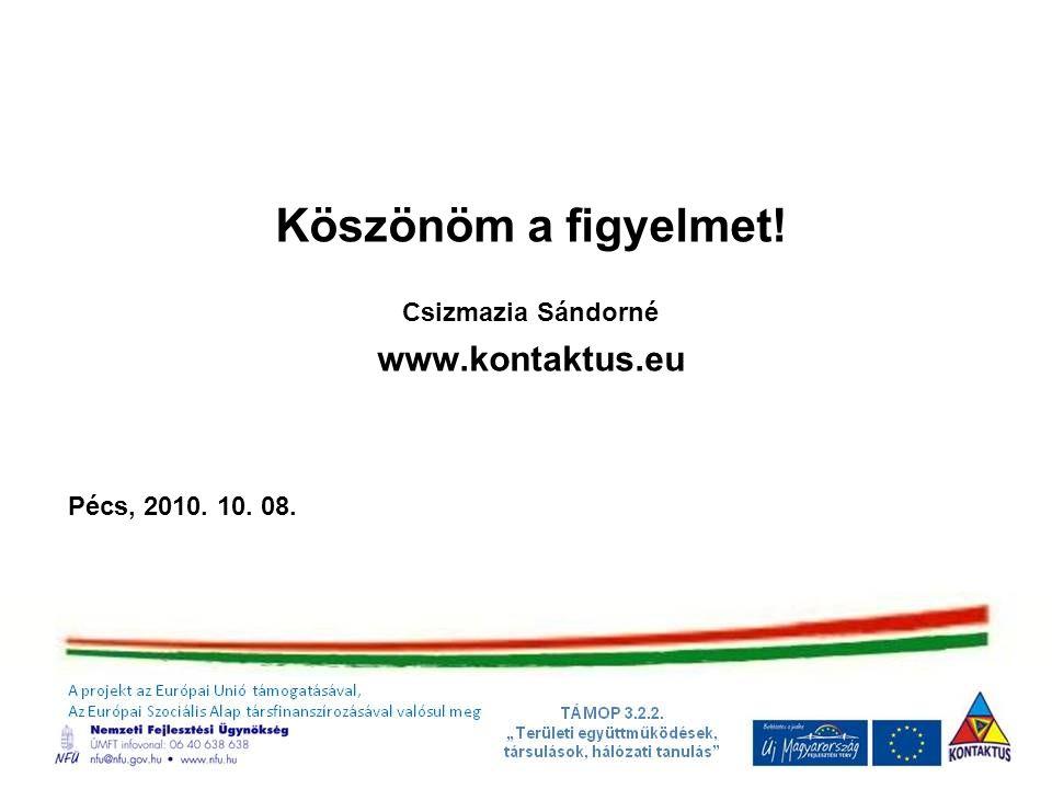 Köszönöm a figyelmet! Csizmazia Sándorné www.kontaktus.eu Pécs, 2010. 10. 08.