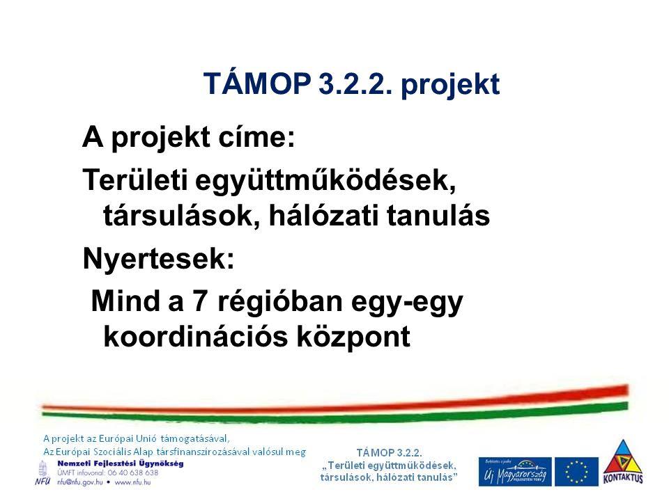 TÁMOP 3.2.2. projekt A projekt címe: Területi együttműködések, társulások, hálózati tanulás Nyertesek: Mind a 7 régióban egy-egy koordinációs központ
