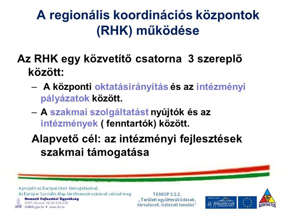A regionális koordinációs központok (RHK) működése Az RHK egy közvetítő csatorna 3 szereplő között: – A központi oktatásirányítás és az intézményi pályázatok között.