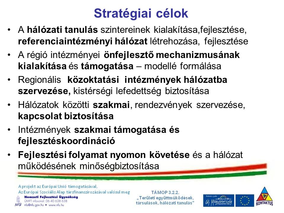 Stratégiai célok A hálózati tanulás szintereinek kialakítása,fejlesztése, referenciaintézményi hálózat létrehozása, fejlesztése A régió intézményei önfejlesztő mechanizmusának kialakítása és támogatása – modellé formálása Regionális közoktatási intézmények hálózatba szervezése, kistérségi lefedettség biztosítása Hálózatok közötti szakmai, rendezvények szervezése, kapcsolat biztosítása Intézmények szakmai támogatása és fejlesztéskoordináció Fejlesztési folyamat nyomon követése és a hálózat működésének minőségbiztosítása