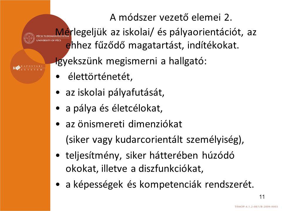 A módszer vezető elemei 2.
