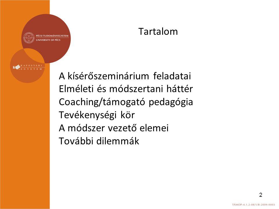 Tartalom A kísérőszeminárium feladatai Elméleti és módszertani háttér Coaching/támogató pedagógia Tevékenységi kör A módszer vezető elemei További dilemmák 2